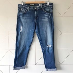 AG Stilt Roll Up Cigarette Distressed Crop Jeans
